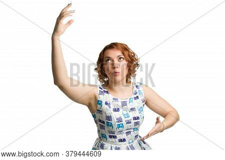 Portrait Of A Young Redheaded Overweight Girl On A White Background Isolated