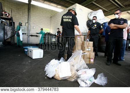 Itabuna, Bahia / Brazil - March 30, 2012: Federal Police Agent Participates In Drug Incineration Sei