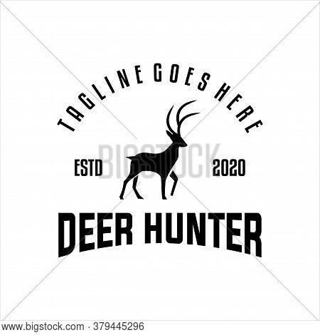 Deer Hunt Logo Vector, Elegant Deer Head Logo Design Template