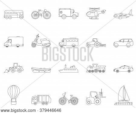 Collection Of Transport Line Icons. Transportable Vehicle Set Of Airplane, Train, Car , Bicycle And