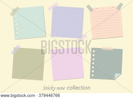 Collections Of Blank Sticky Note Isolated On Background, Post-it Notes, Vector Illustration.
