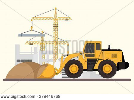 Construction Of Building.machinery Working In Area. Crane With Bulldozer, Under Construction Buildin