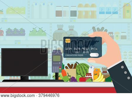 Payment By Bank Credit Card. Supermarket Interior With Products On Shelves.cashier Counter Workplace