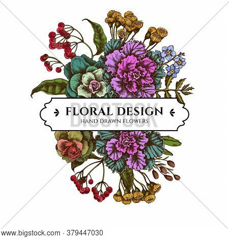 Floral Bouquet Design With Colored Wax Flower, Forget Me Not Flower, Tansy, Ardisia, Brassica, Decor