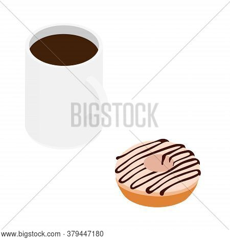 Coffee Mug And Sweet Chocolate Donut. Isolated On A White. Vector. Isometric View