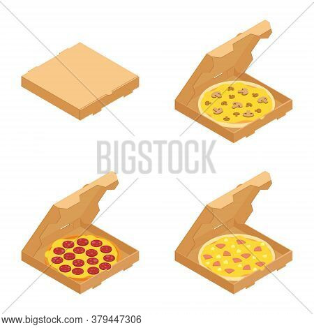 Set Of The Italian Pizzas In Cardboard Boxes Isolated On White Background. For Restaurant Menu And D