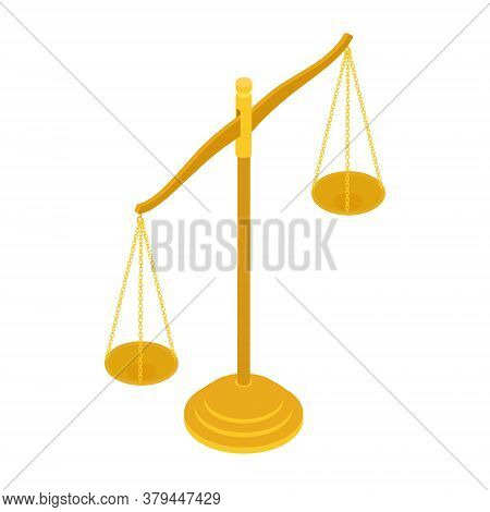 Gold Brass Balance Scale Isolated On White Background. Sign Of Justice, Lawyer. Isometric View. Vect