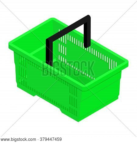 Green Empty Shopping Basket Isolated On White Background. Isometric View. Vector