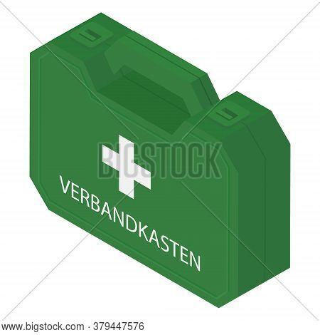 First Aid Kit Box Isolated On White Background Isometric View Vector
