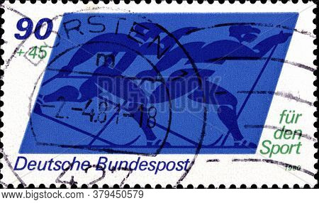 02 09 2020 Divnoe Stavropol Territory Russia The Postage Stamp Germany 1980 Sports Skiiing Skiers Si