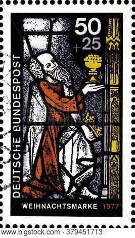 02 09 2020 Divnoe Stavropol Territory Russia The German Postage Stamp 1977 Christmas Stamp King Kasp