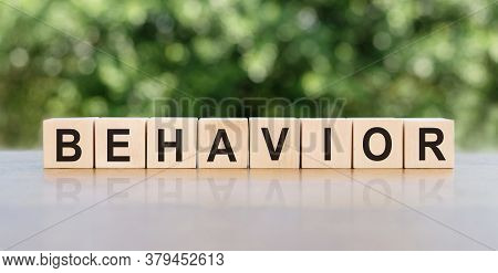 Behavior Word Written On Wooden Blocks. The Text Is Written In Black Letters And Is Reflected In The
