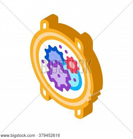 Watch Mechanism Gears Icon Vector. Isometric Watch Mechanism Gears Sign. Color Isolated Symbol Illus