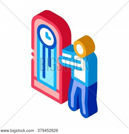 Human Delivery Watch Repair Service Icon Vector. Isometric Human Delivery Watch Repair Service Sign.