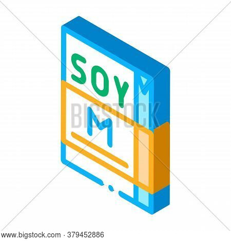 Soy Milk Package Icon Vector. Isometric Soy Milk Package Sign. Color Isolated Symbol Illustration