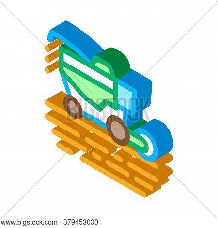 Soy Harvesting Machine Icon Vector. Isometric Soy Harvesting Machine Sign. Color Isolated Symbol Ill