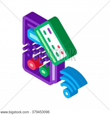 Pos Terminal And Pay Pass Card Icon Vector. Isometric Pos Terminal And Pay Pass Card Sign. Color Iso