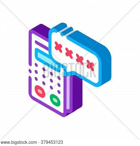 Pos Terminal Pin Code Icon Vector. Isometric Pos Terminal Pin Code Sign. Color Isolated Symbol Illus