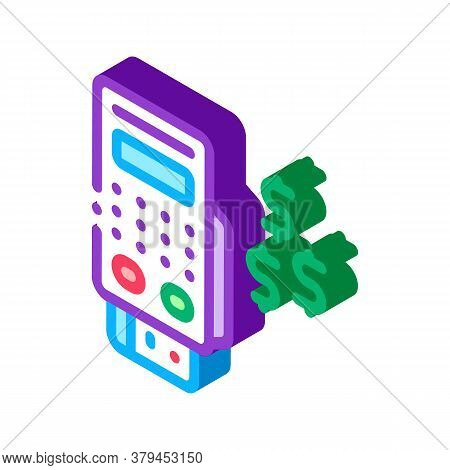 Pos Terminal Payment Icon Vector. Isometric Pos Terminal Payment Sign. Color Isolated Symbol Illustr