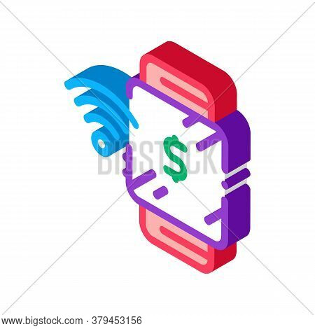 Watch Pay Pass Icon Vector. Isometric Watch Pay Pass Sign. Color Isolated Symbol Illustration