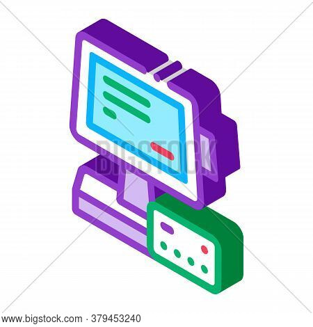 Pos Terminal Display And Card Icon Vector. Isometric Pos Terminal Display And Card Sign. Color Isola