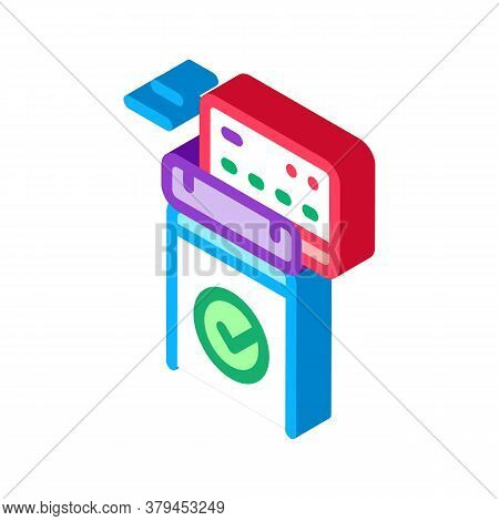 Pos Terminal Approved Card Icon Vector. Isometric Pos Terminal Approved Card Sign. Color Isolated Sy