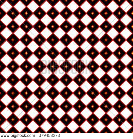 Red Bordered Square Textile Pattern And Tiles Design With Multicolour ( Red, Yellow, Orange, White,