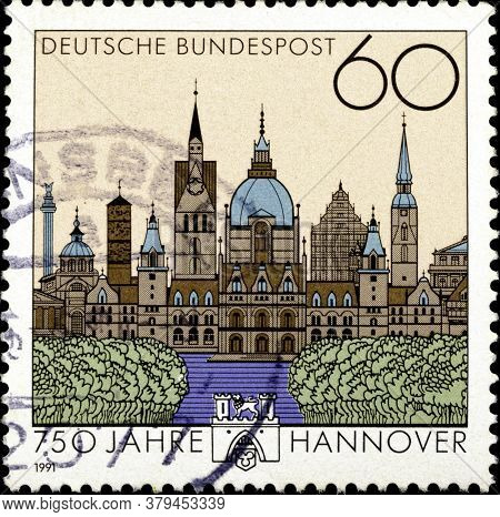 02 09 2020 Divnoe Stavropol Territory Russia The Postage Stamp Germany 1991 The 750th Anniversary Of