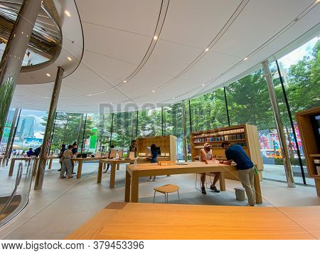 Bangkok Thailand - 3 August 2020: Apple Store At Central World In Bangkok. This Apple Store Is The 2