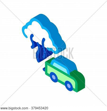 Car Smog Smoke Icon Vector. Isometric Car Smog Smoke Sign. Color Isolated Symbol Illustration