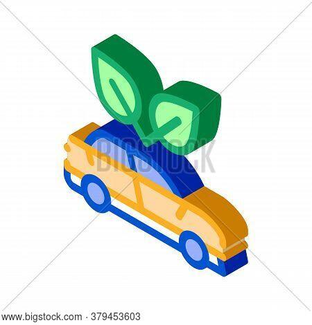 Electro Ecology Environmental Protection Car Icon Vector. Isometric Electro Ecology Environmental Pr