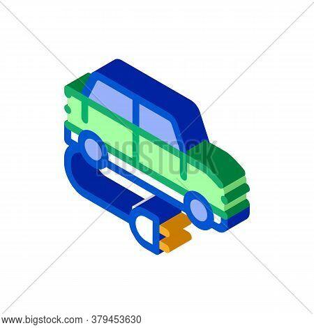 Electro Car Charging Socket Icon Vector. Isometric Electro Car Charging Socket Sign. Color Isolated