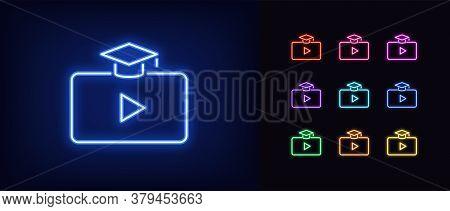 Neon Video Course Icon. Glowing Neon Webinar Sign, Digital Study In Vivid Colors. Online Education P