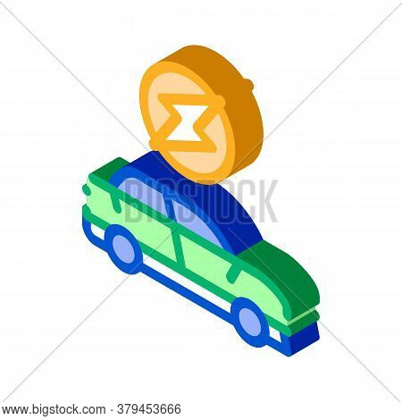 Electro Car Icon Vector. Isometric Electro Car Sign. Color Isolated Symbol Illustration