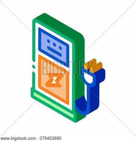 Electro Car Charge Station Icon Vector. Isometric Electro Car Charge Station Sign. Color Isolated Sy