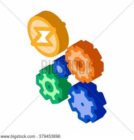 Electro Car Lightning And Gears Icon Vector. Isometric Electro Car Lightning And Gears Sign. Color I
