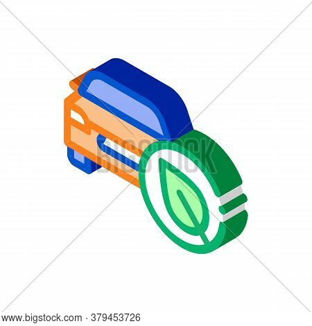 Electro Eco Car Icon Vector. Isometric Electro Eco Car Sign. Color Isolated Symbol Illustration