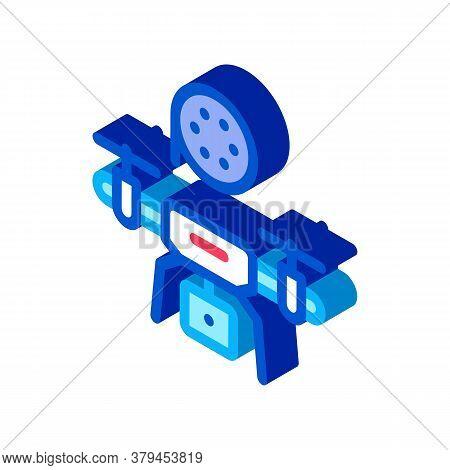 Drone Record Movie Icon Vector. Isometric Drone Record Movie Sign. Color Isolated Symbol Illustratio