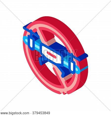 Drone Crossed Out Sign Icon Vector. Isometric Drone Crossed Out Sign Sign. Color Isolated Symbol Ill