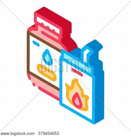 Bbq Liquid For Fire Icon Vector. Isometric Bbq Liquid For Fire Sign. Color Isolated Symbol Illustrat