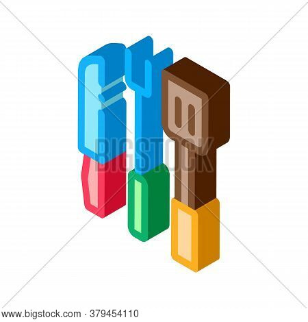 Bbq Utensil Icon Vector. Isometric Bbq Utensil Sign. Color Isolated Symbol Illustration