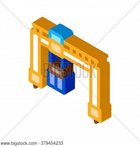 Crane Terminal With Container Icon Vector. Isometric Crane Terminal With Container Sign. Color Isola