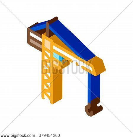 Engineering Crane Icon Vector. Isometric Engineering Crane Sign. Color Isolated Symbol Illustration