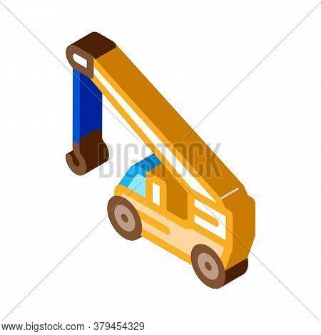 Machinery Crane Icon Vector. Isometric Machinery Crane Sign. Color Isolated Symbol Illustration