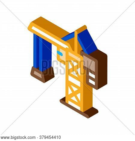 Crane For Building Icon Vector. Isometric Crane For Building Sign. Color Isolated Symbol Illustratio