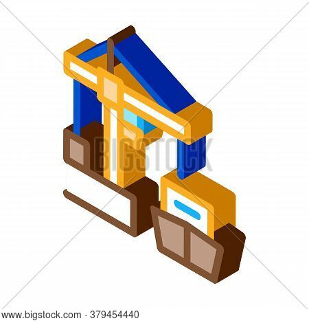 Port Crane And Ship Icon Vector. Isometric Port Crane And Ship Sign. Color Isolated Symbol Illustrat