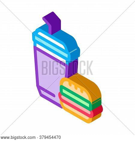 Food Burger And Drink Cup Icon Vector. Isometric Food Burger And Drink Cup Sign. Color Isolated Symb