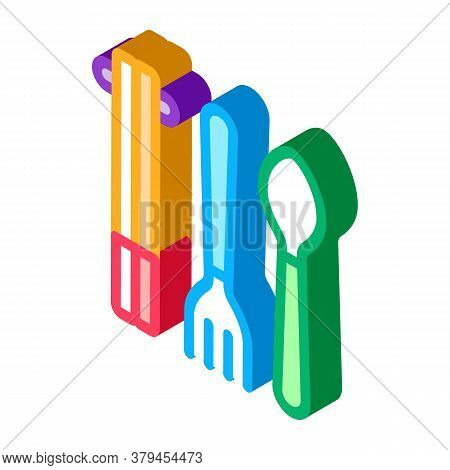 Food Utensil Icon Vector. Isometric Food Utensil Sign. Color Isolated Symbol Illustration