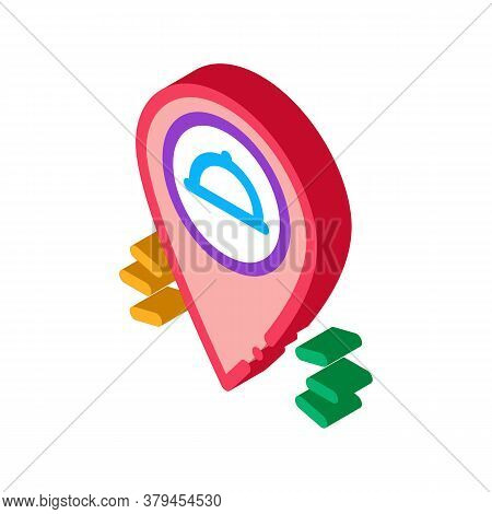Food Delivery Gps Mark Icon Vector. Isometric Food Delivery Gps Mark Sign. Color Isolated Symbol Ill
