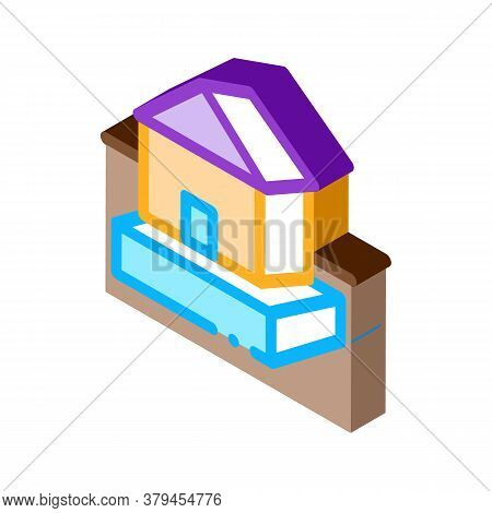 House On Foundation Icon Vector. Isometric House On Foundation Sign. Color Isolated Symbol Illustrat
